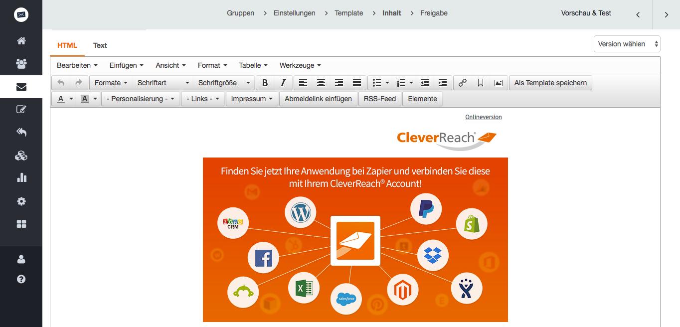screenshot: Für Profis: Finetuning im HTML- oder Quelltext-Modus