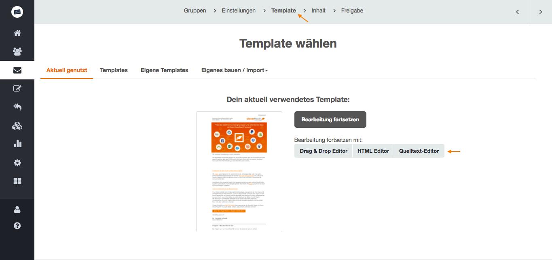 screenshot: So wechseln Sie in den HTML- oder Quelltext-Editor