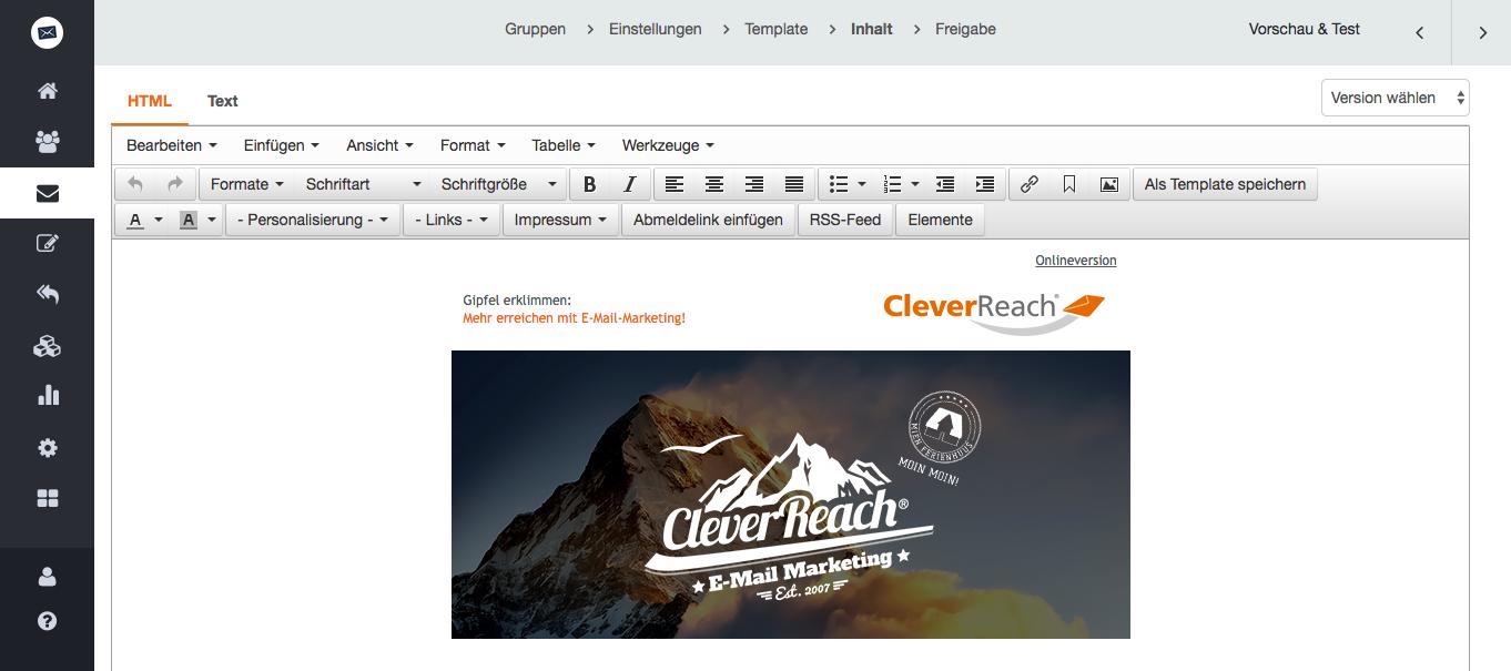 screenshot: Erfahreneren Anwendern mit speziellen Anforderungen an ihre Vorlagen empfehlen wir den HTML-Editor.