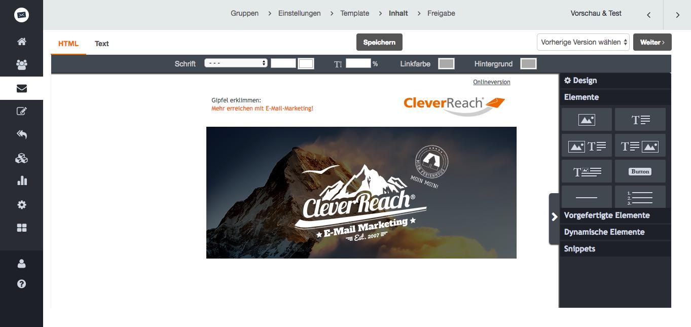 screenshot: Individuelle Newsletter-Templates für maßgeschneidertes E-Mail-Marketing