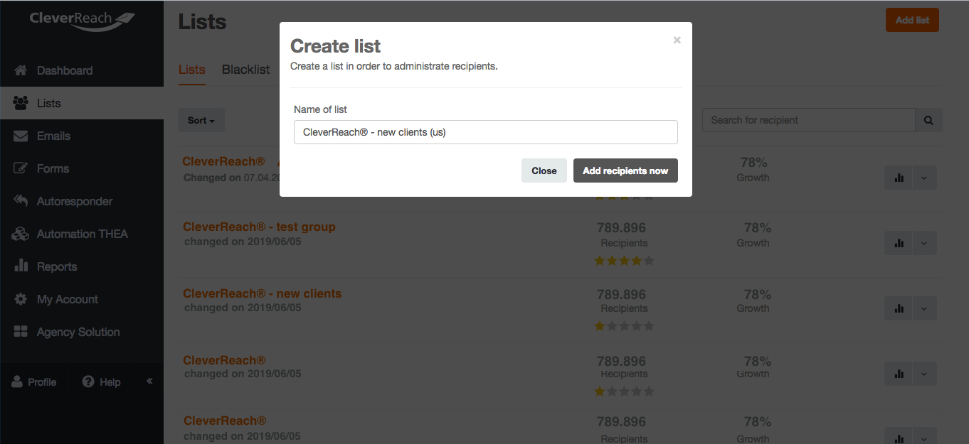 screenshot: Create a new list for your mailing – all with just one click!