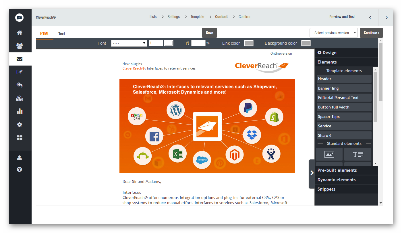 Create and design professional newsletters for free with our CleverReach® newsletter editor software.