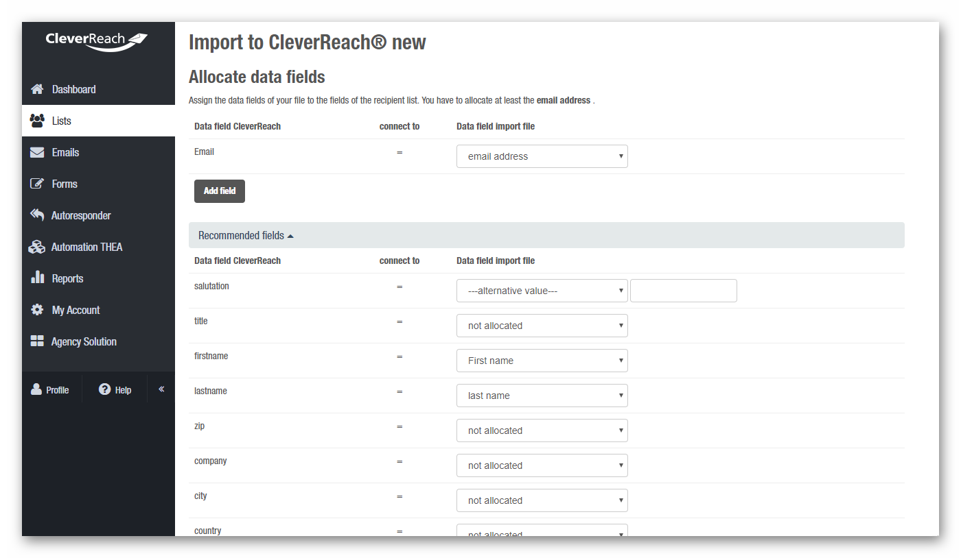 Match the data of your import file to the existing data fields in CleverReach®