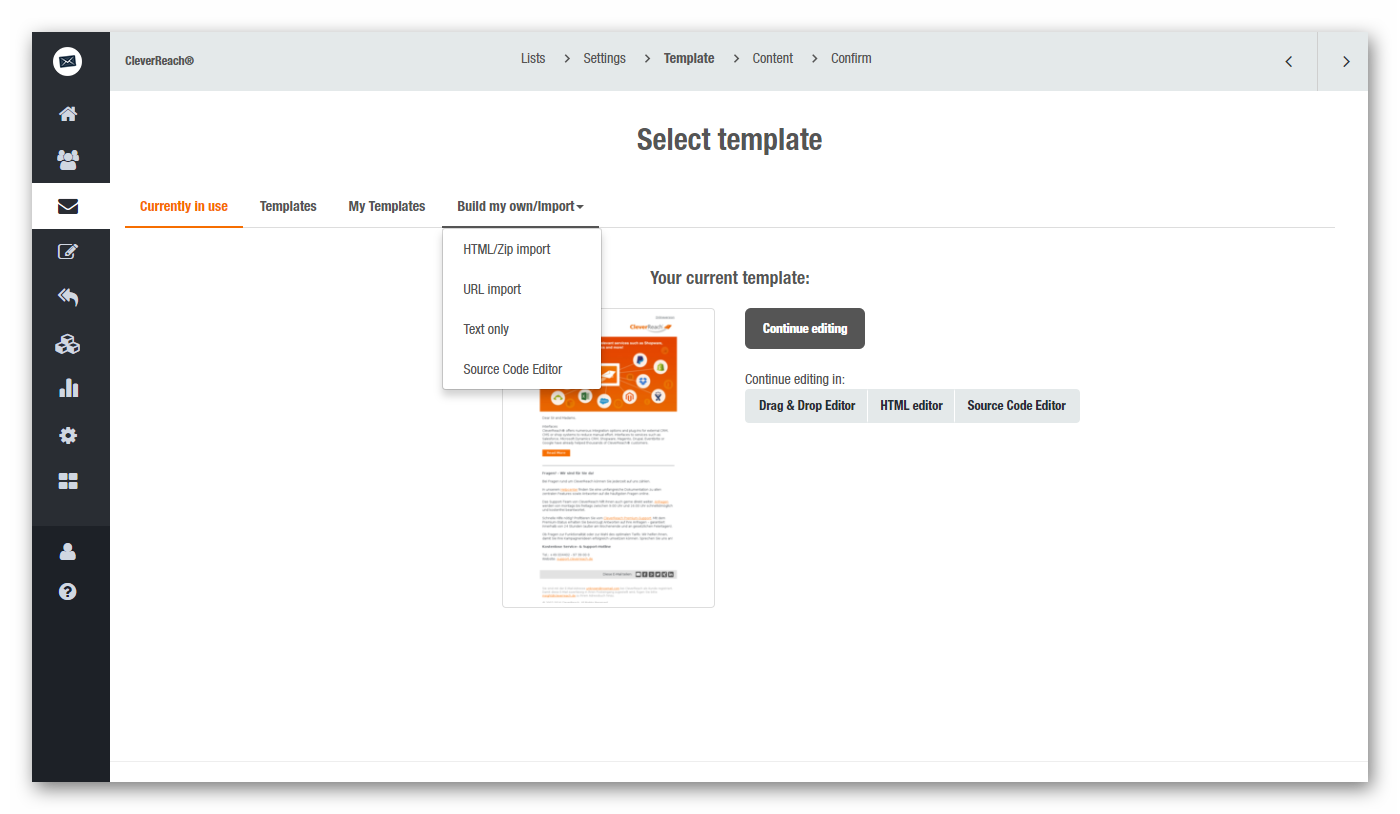 Use your own templates for your email campaigns