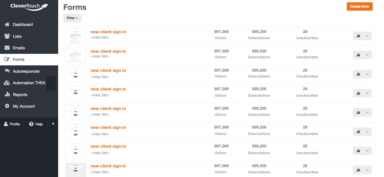 screenshot: Keep your lists of subscribers growing
