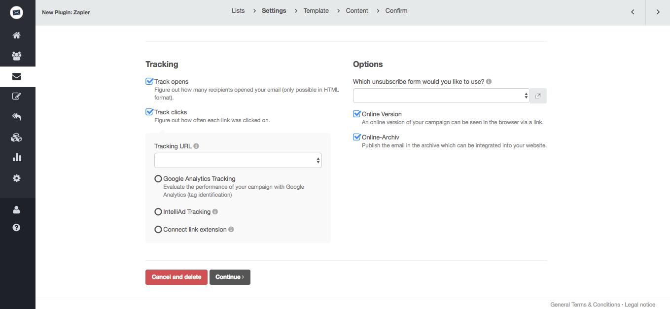 screenshot: cleverreach google analytics