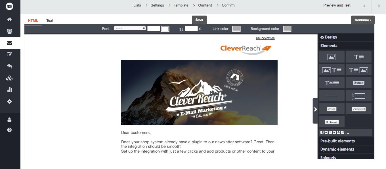 screenshot: cleverreach
