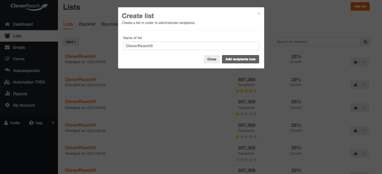 screenshot: Create list