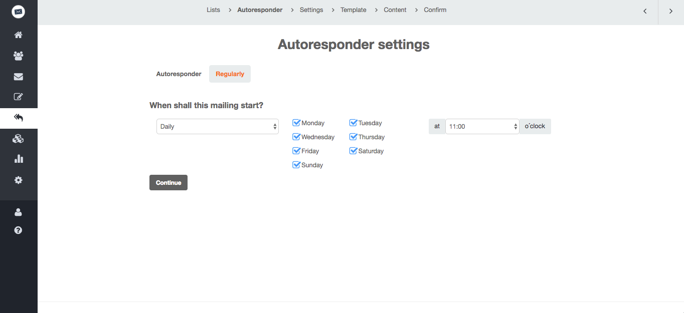 screenshot: Select a date when you want to send your first automated email.