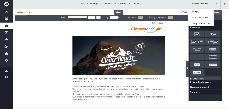 screenshot: cleverreach editor