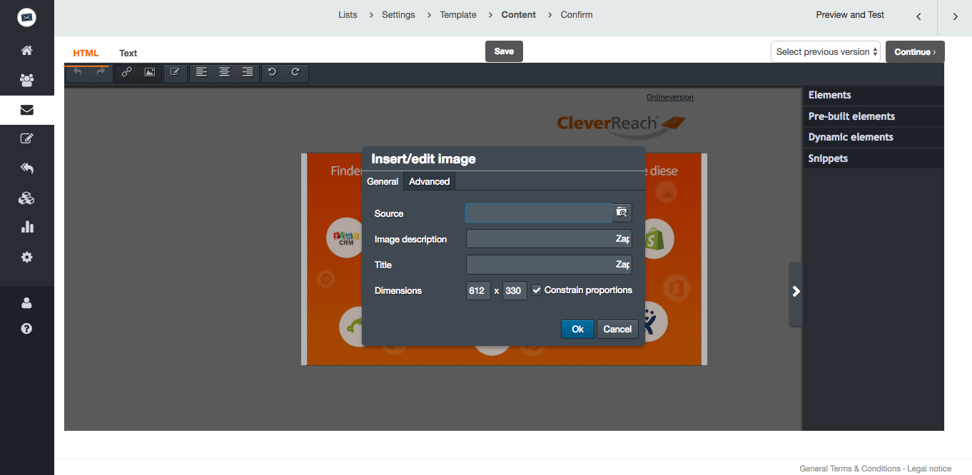 screenshot: Edit your images directly in our CleverReach® newsletter editor. Create your mailing and edit your images exactly the way you need them. How to insert images: