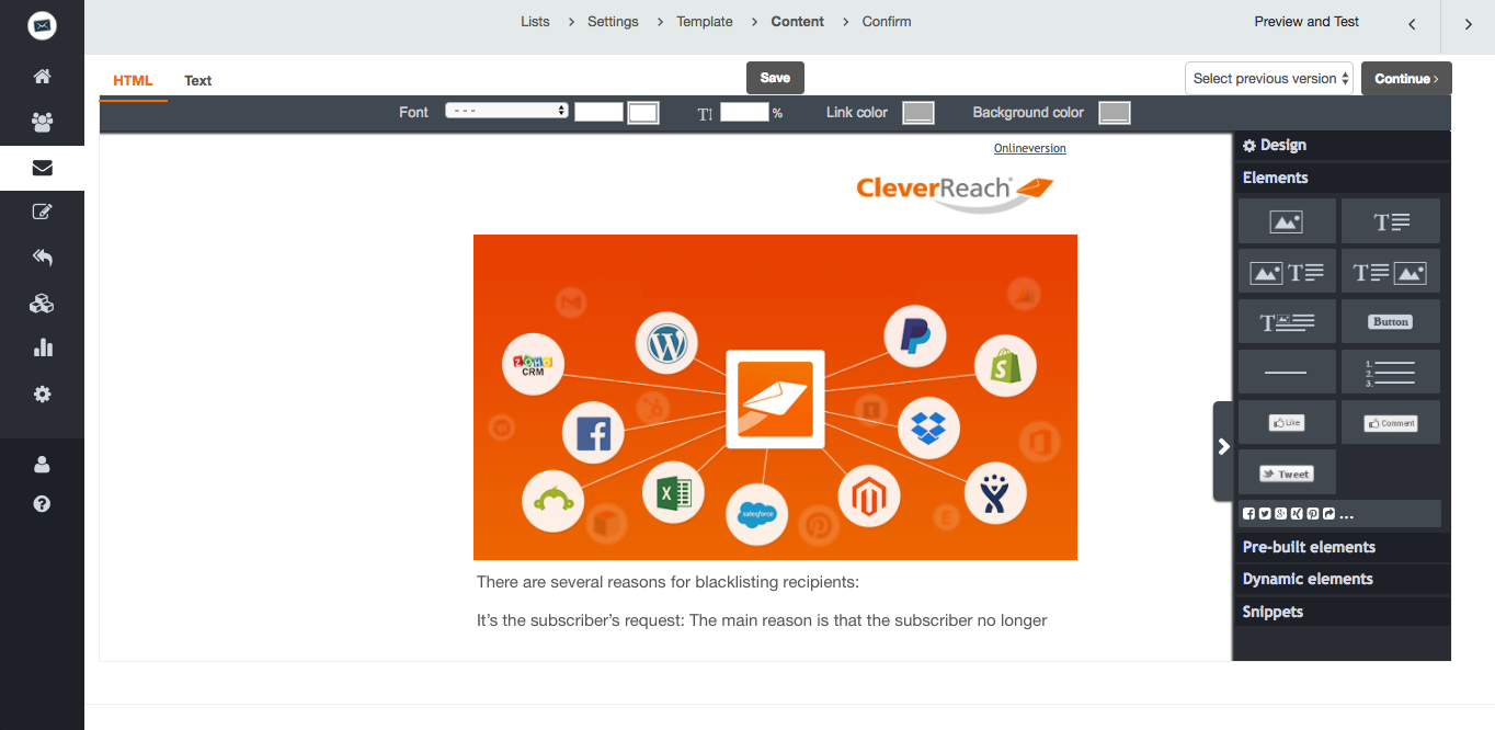 screenshot: Create individual templates with CleverReach® for customized email marketing