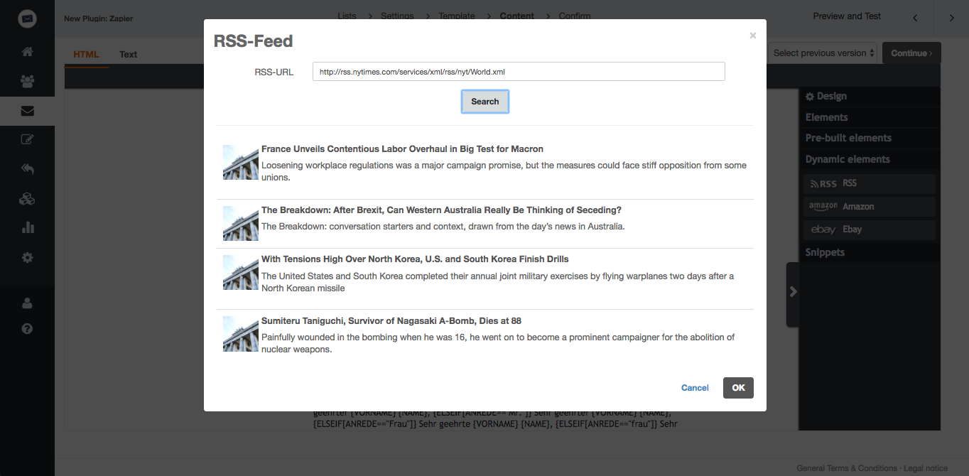 screenshot: RSS is a format (based on XML) for delivering regularly changing web content.