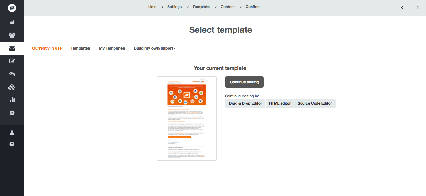 screenshot: Template management: Select template