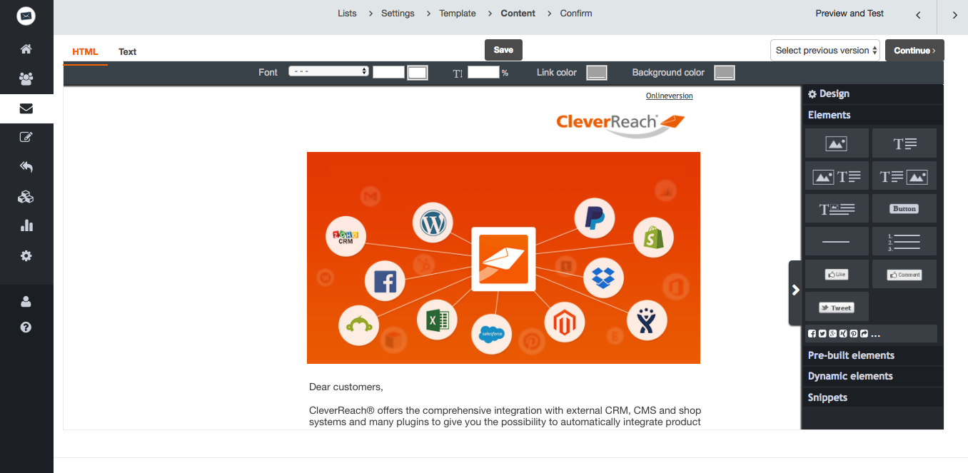 screenshot: CleverReach® offers the comprehensive integration with external CRM, CMS and shop systems and many plugins