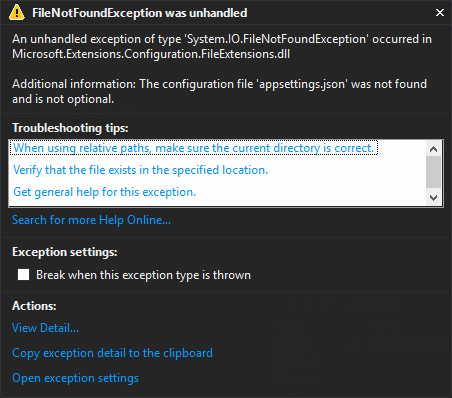 Exception Assistant showing a File Not Found Exception