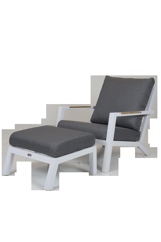 Lounge Stoel Met Voetenbank.Loungestoel Ascon Met Voetenbank Aluminium Wit Coppens Warenhuis