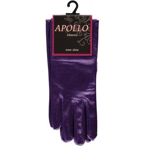 Handschoen satijn paars