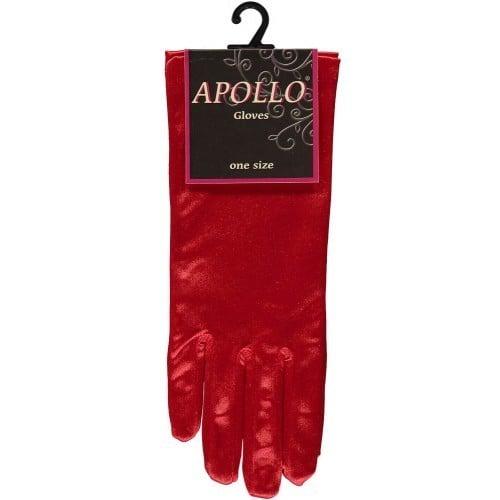 Handschoen satijn rood