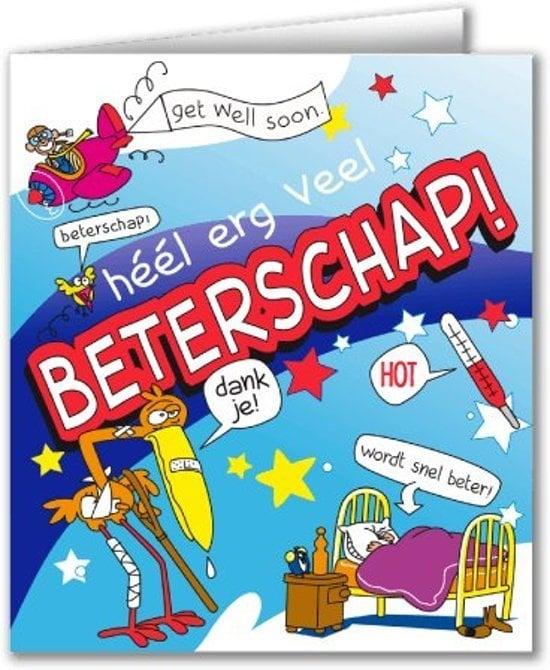 Wenskaarten - beterschap cartoon