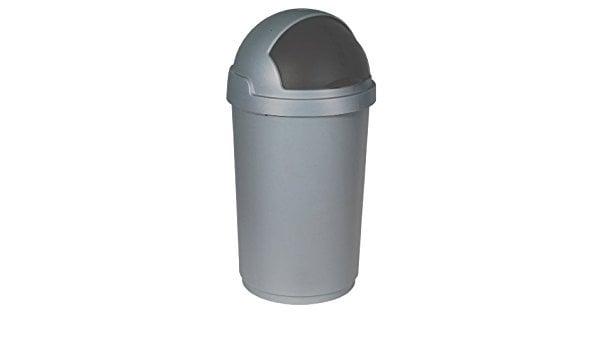 Afvalbak Roll Bulletbin 50 liter, Zilver-Zwart