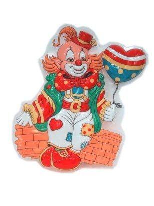 Decoratie clown met hart ballon 38x28cm
