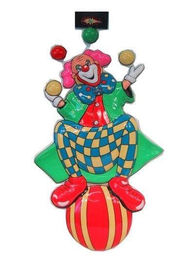 Decoratie clown op bal -jongleur 60cm