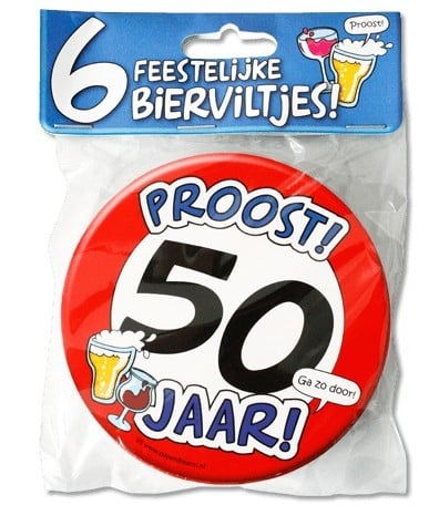 Bierviltjes met tekst 50 jaar