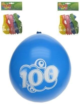 Leeftijdsballonnen 100 jaar 32 cm 8 stuks