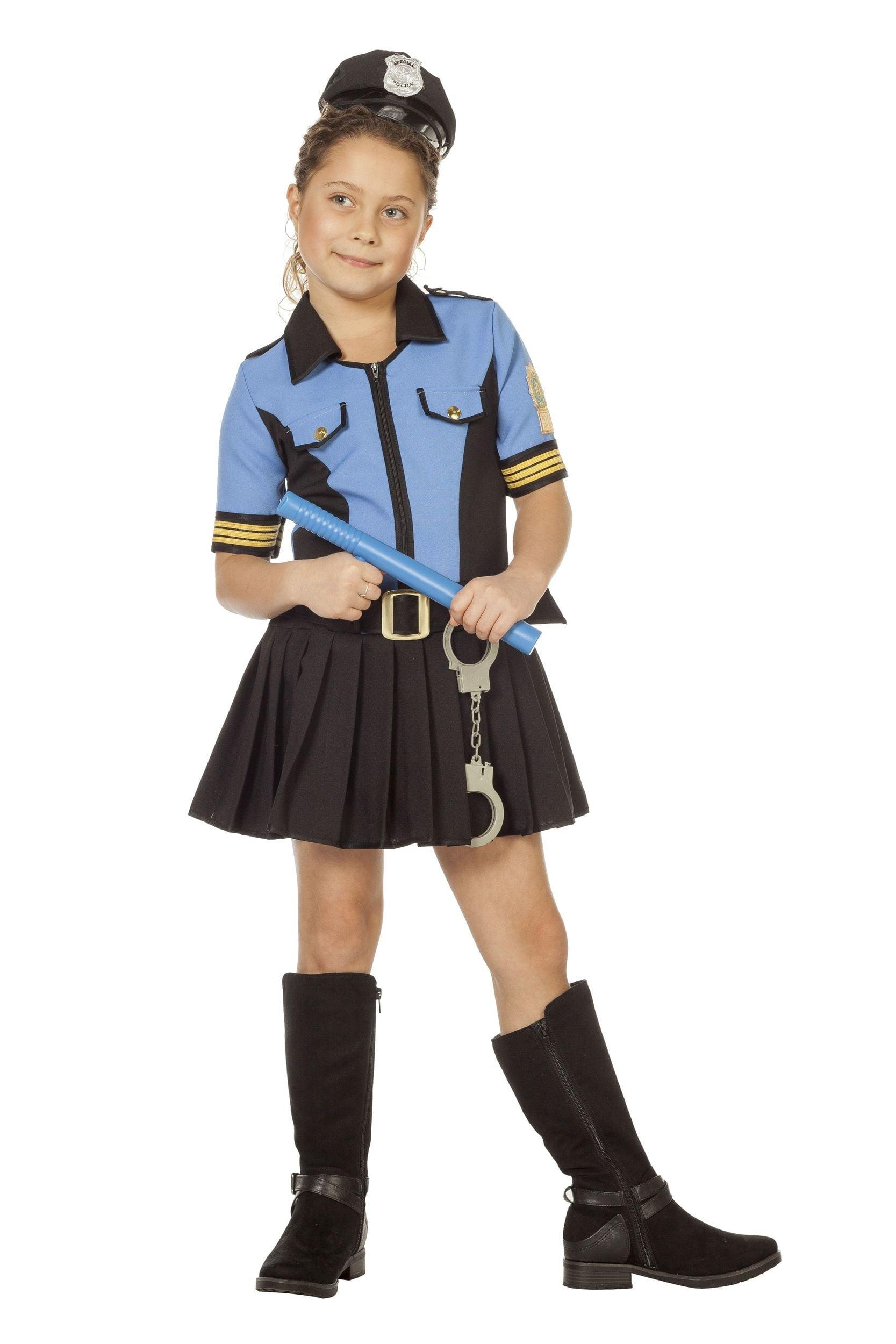 Police blue, jurk en ceintuur