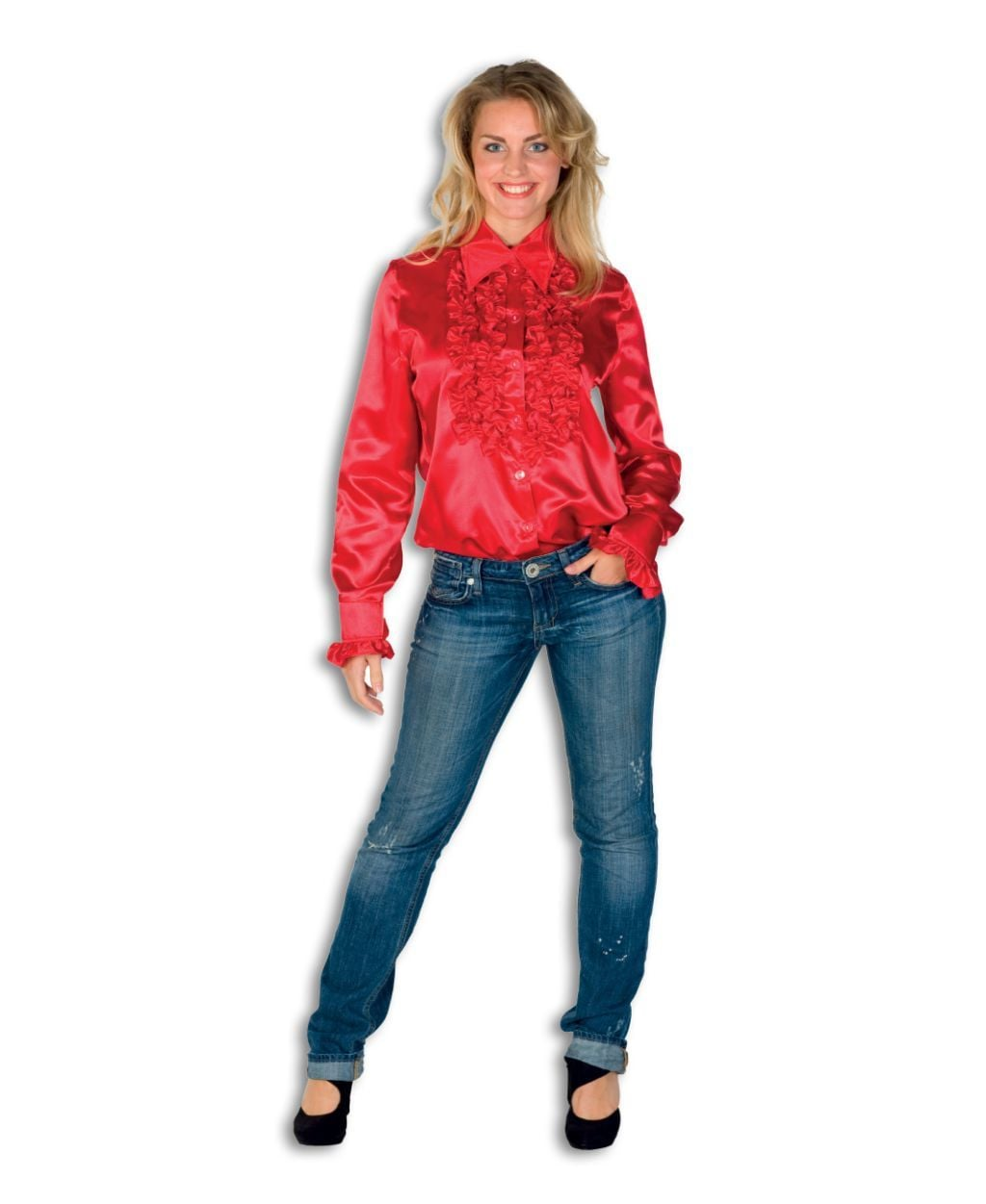 Dames Ruche Blouse Rood
