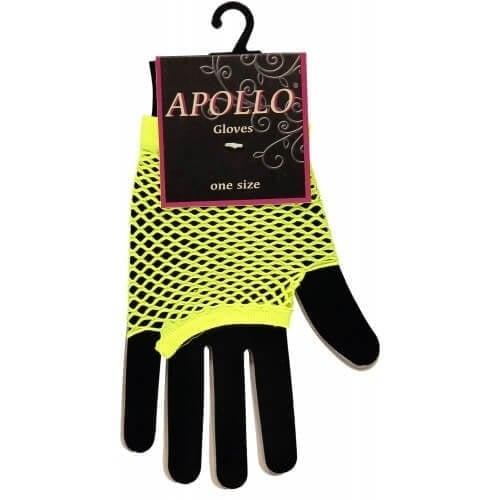 Visnet vingerloze handschoen geel