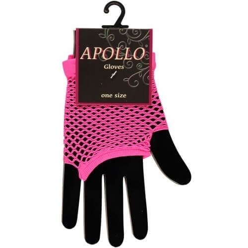 Visnet vingerloze handschoen pink