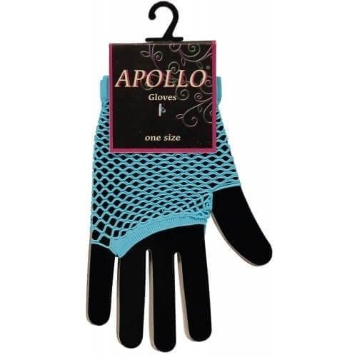 Visnet vingerloze handschoen turquoise