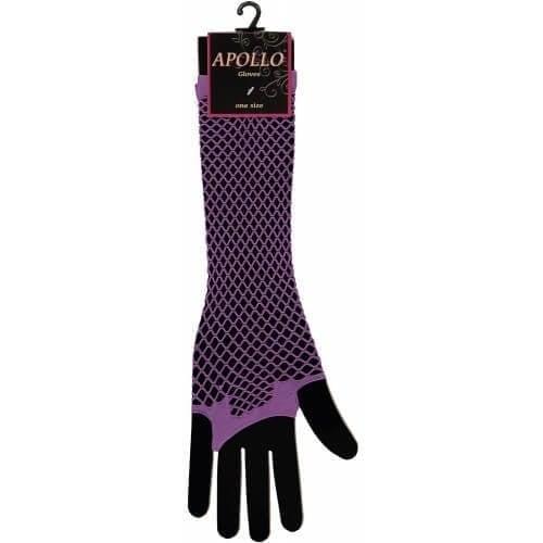 Visnet lang vingerloze handschoen paars