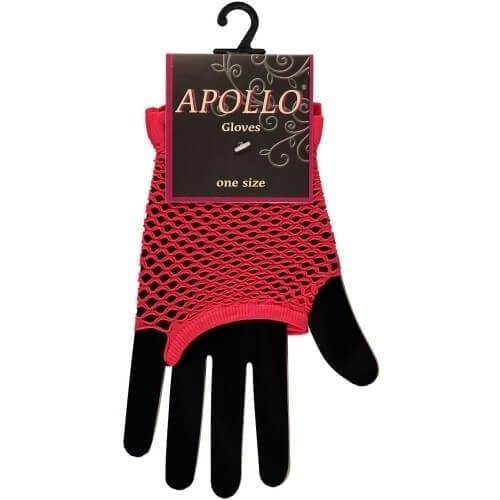 Visnet vingerloze handschoen rood