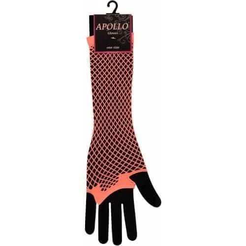 Visnet lang vingerloze handschoen oranje