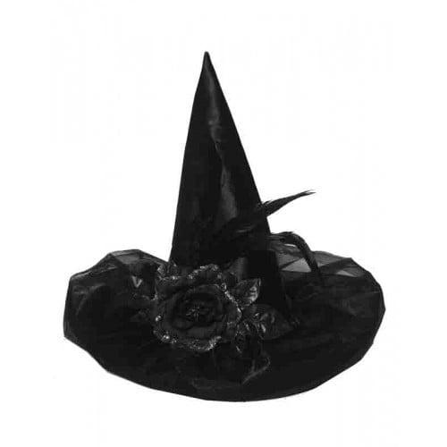 Satijn zwarte heksenhoed met bloem en veren