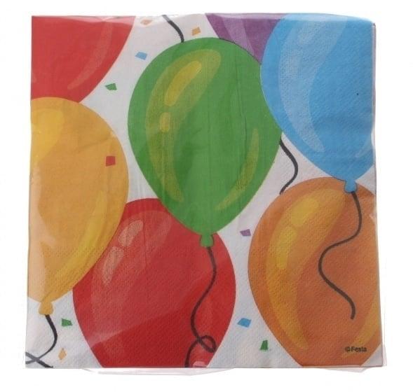 Papieren servetten 33x33cm ballon