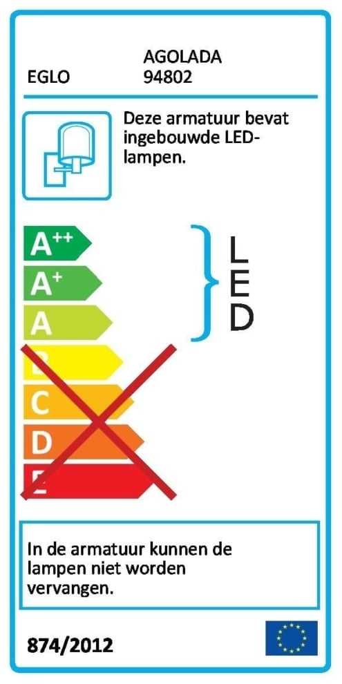 Eglo bl-led-wl/2 wt-struc 'agolada'