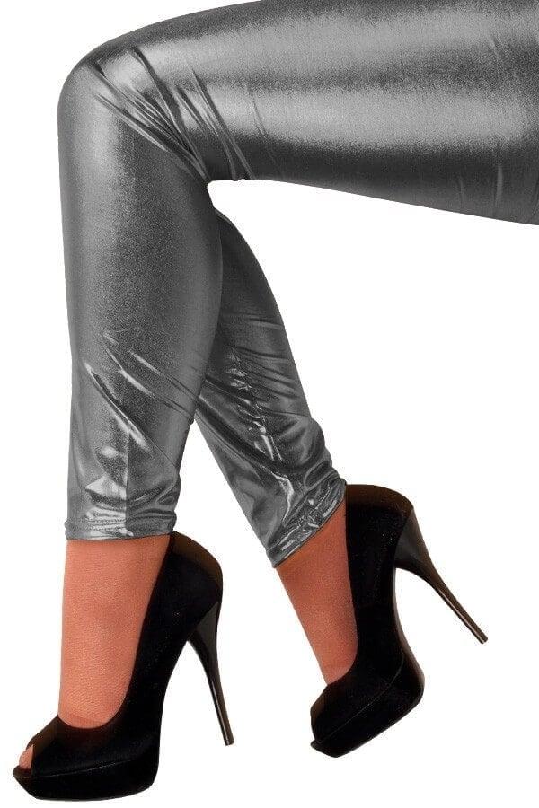 Metallic legging antraciet