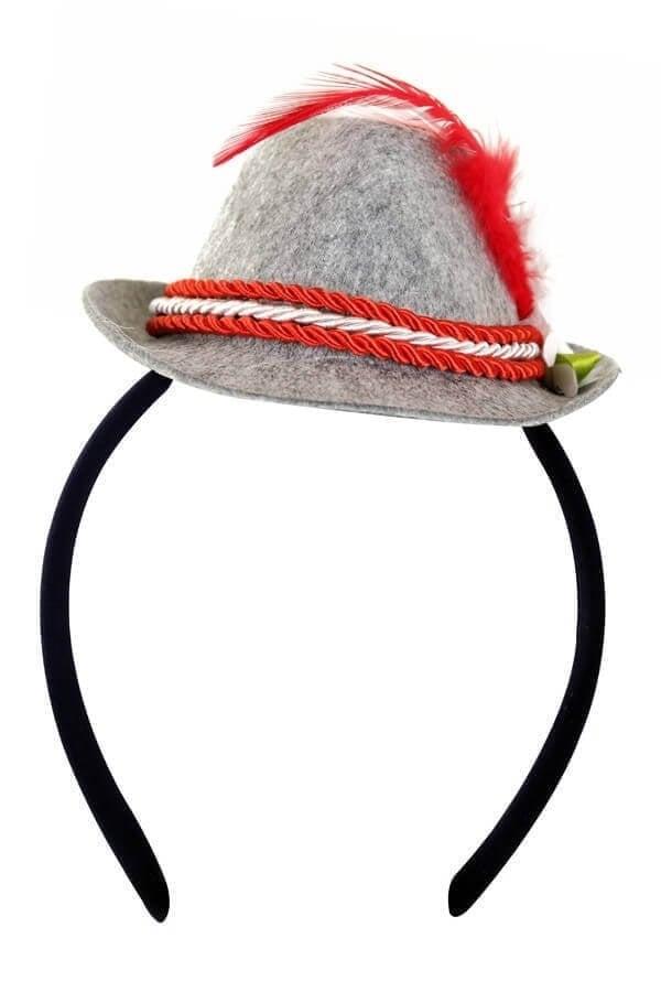 Mini Tiroler hoedje rood op hoofdband