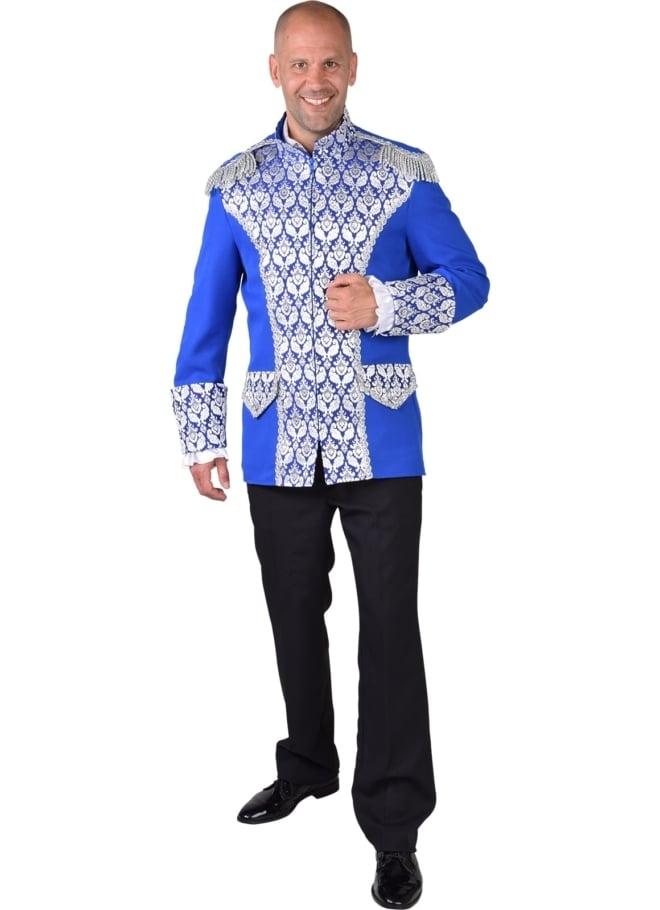 Jas royal brocaat blauw