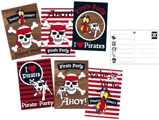 Uitnodigingskaarten Piraten 6 stuks