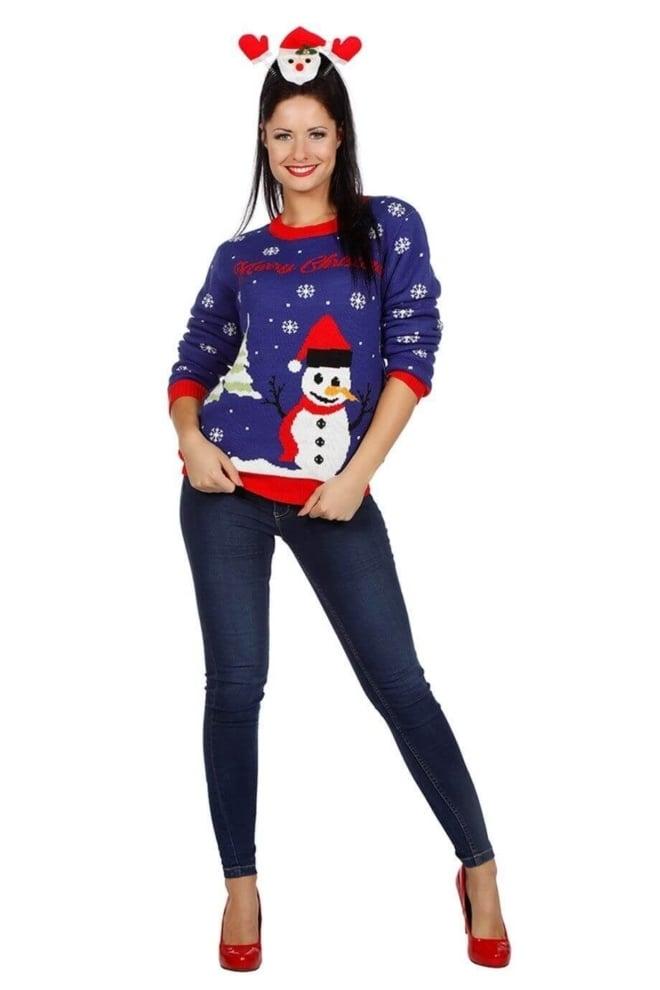 Kersttrui blauw met sneeuwman