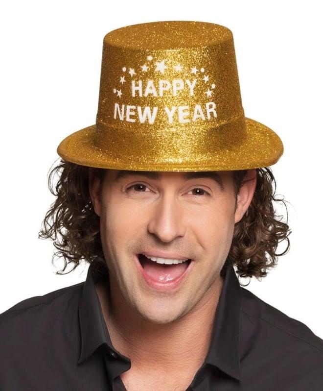 Happy new year hoedje goud