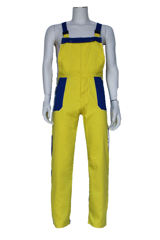Tuinbroek volwassenen poly/katoen geel / korenblauw