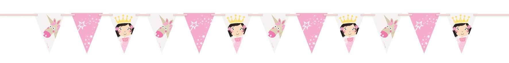Pink Princess Unicorn vlaggenlijn papier