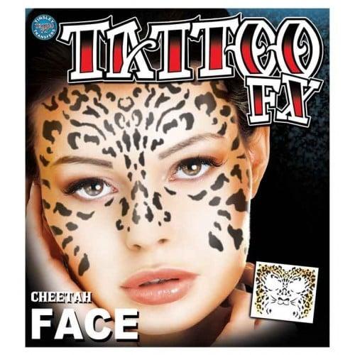 Face tattoo cheetah face