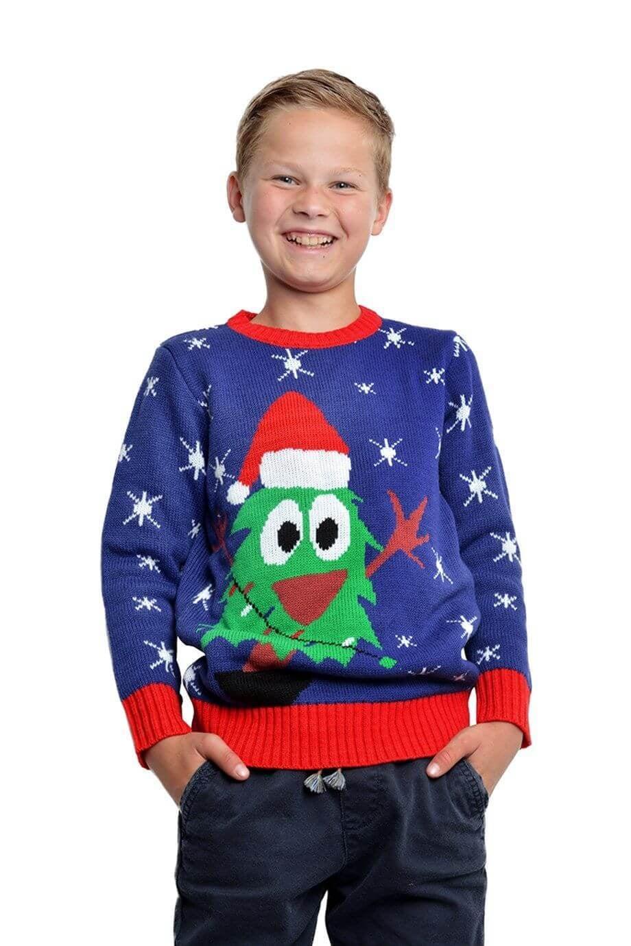 Kersttrui Kids.Kersttrui Blauw Met Kerstboom Kids Coppens Warenhuis